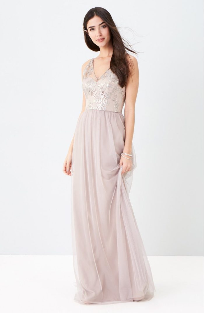 Sequin and Lace Metallic Bridesmaid Dress Sora by Amsale