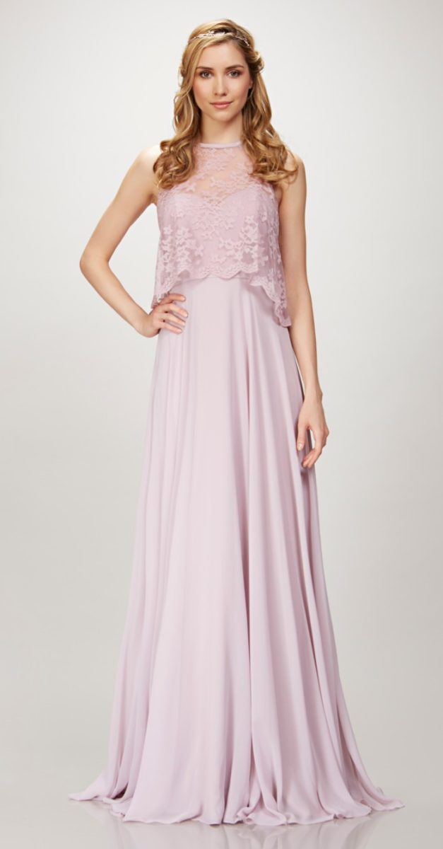 Lavender Long Lace Top Bridesmaid Dress