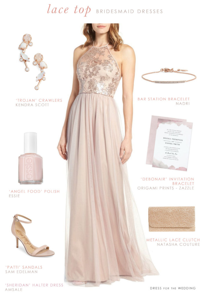 Sequin and Lace Top Bridesmaid Dress