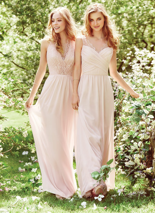 Blush Lace Bridesmaid Dresses by Hayley Paige Occassions