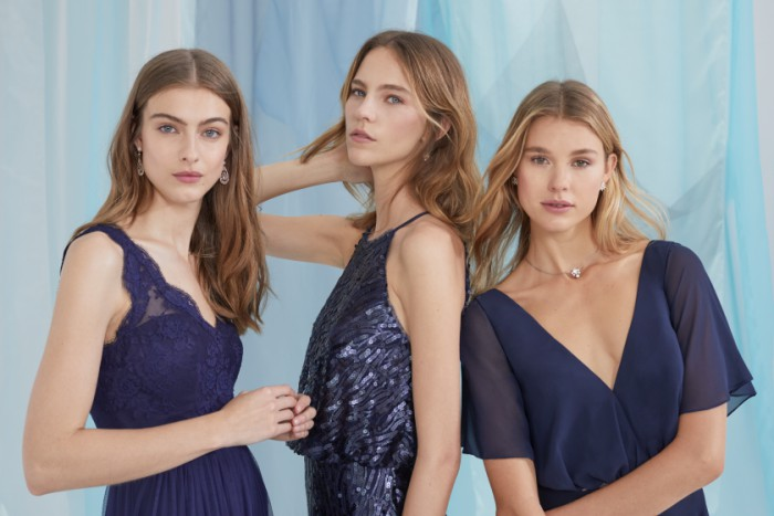 BHLDN Bridesmaids Dresses | Mismatched dark blue dresses for weddings
