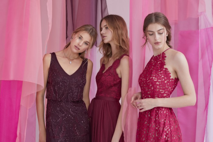 Purple, red, and raspberry mix and match dresses for bridesmaids | New BHLDN Bridesmaid Dresses