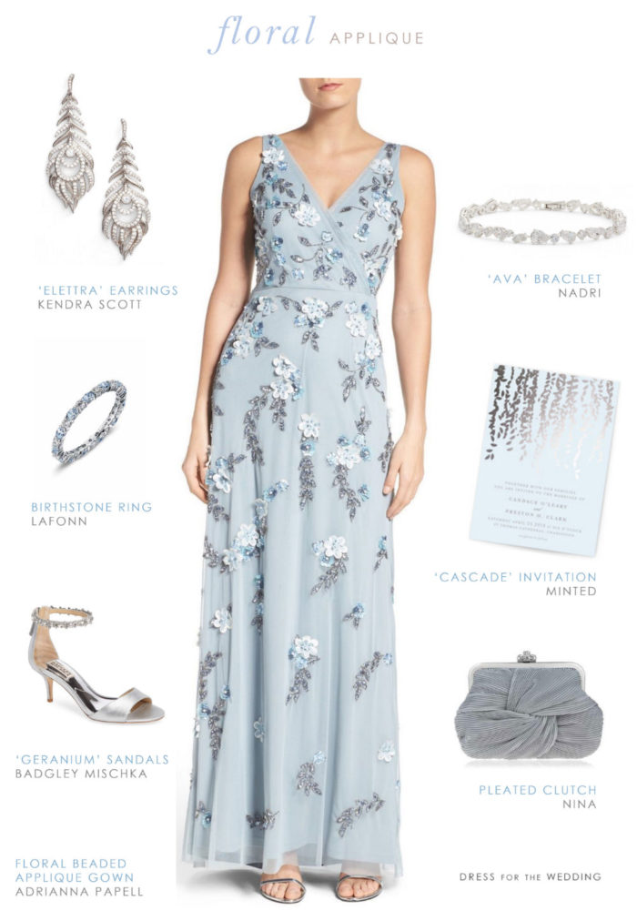 Blue Floral Beaded Gown