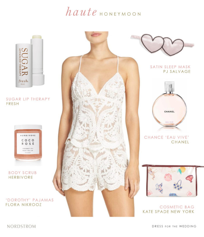 White Lace Pajamas For Honeymoon