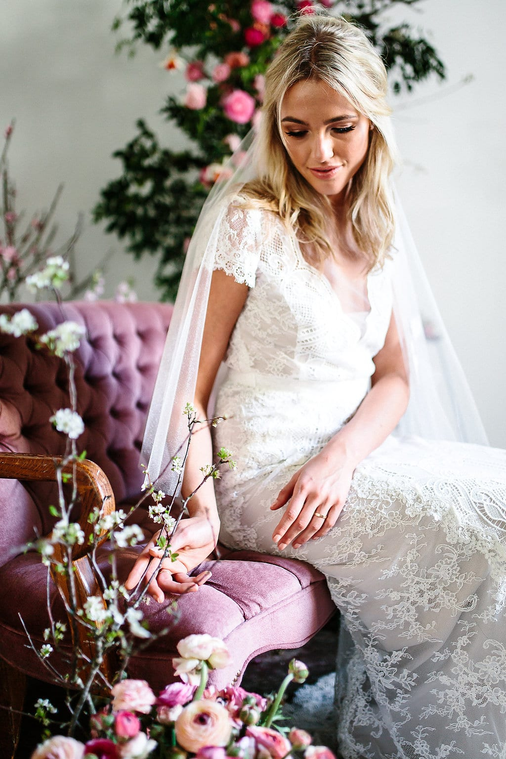 Wedding dress with lace short sleeves | Rosemary by Karen Willis Holmes
