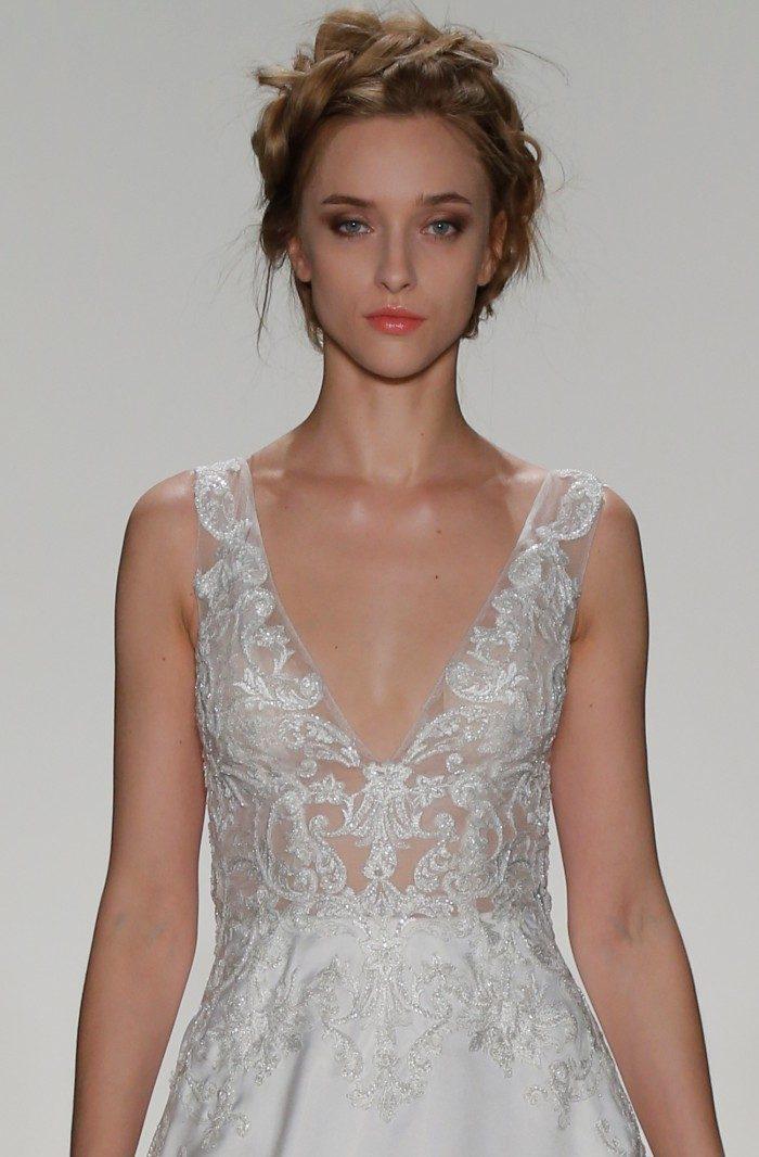 Ballgown wedding dress with sheer bodice