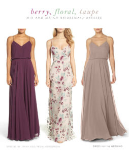 Berry, Floral, and Taupe Mix and Match Bridesmaid Dresses