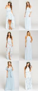 Light Blue Mix and Match Bridesmaid Dresses