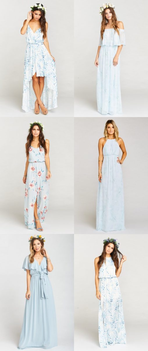 Mismatched Dresses in Light Blue Modern Bridesmaid Dresses