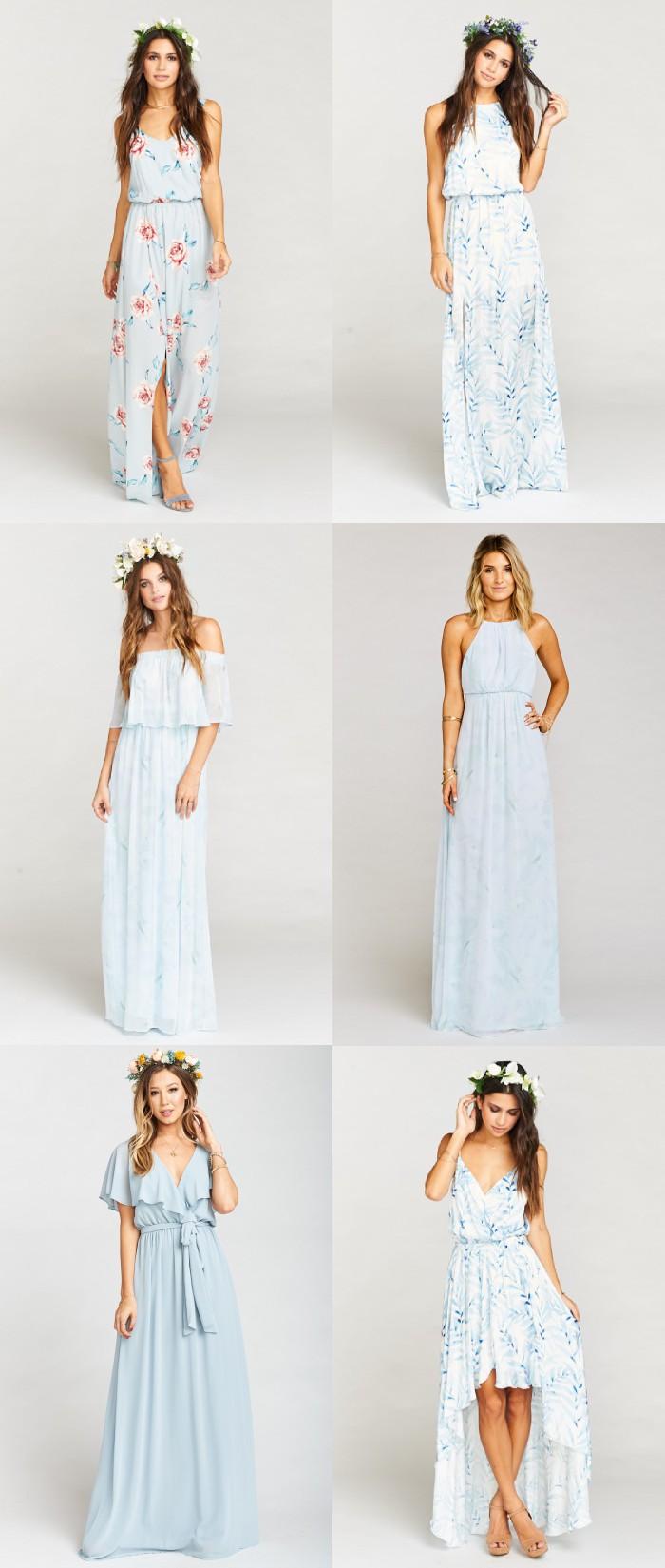 Mismatched Dresses in Light Blue Modern Bridesmaid Dresses