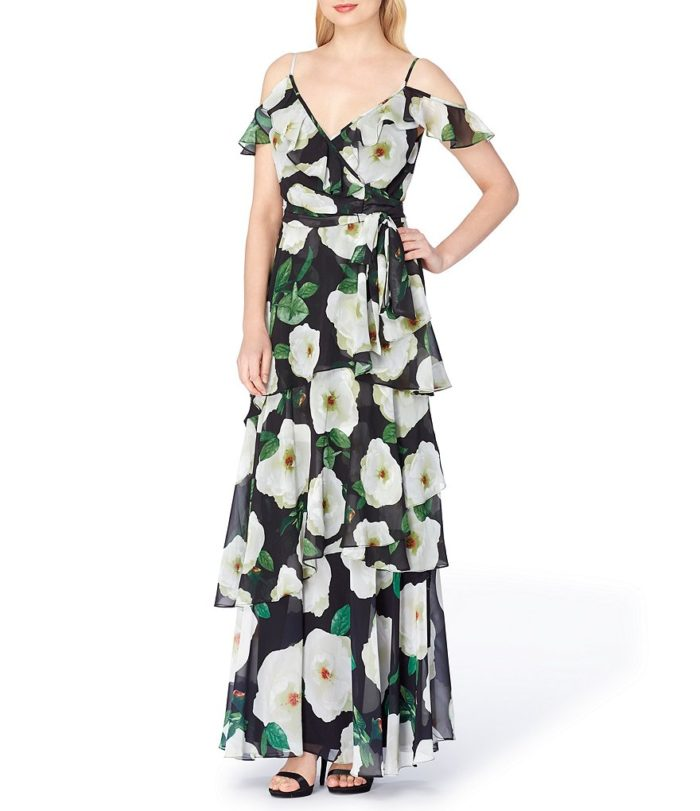 Cold shoulder black and ivory floral maxi dress