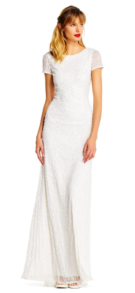 Short Sleeve White Sequin Gown for Weddings or Vow Renewals