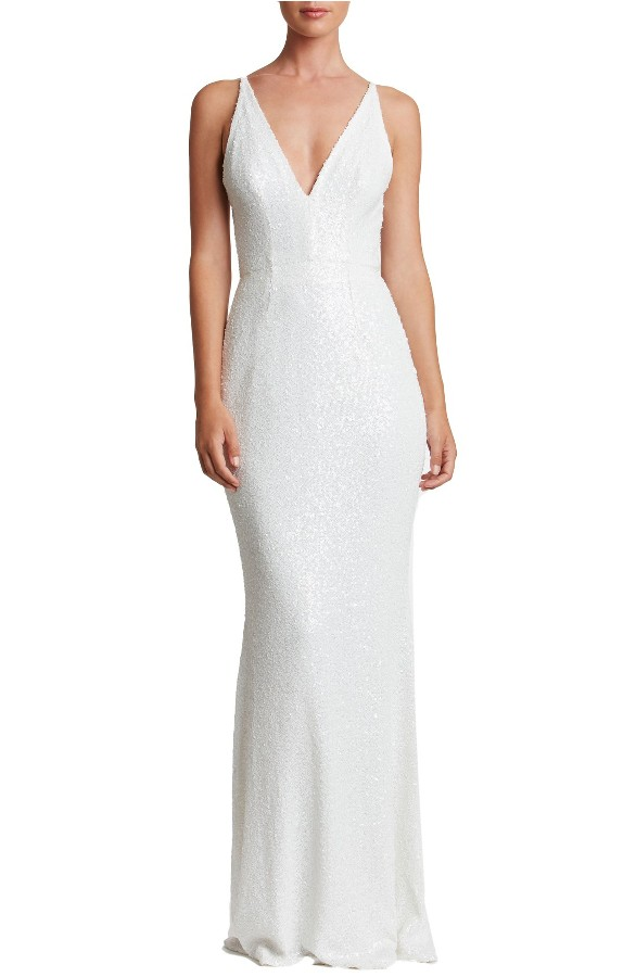Long White Sequin Gown with Spaghetti Straps | Harper Gown by Dress the Population