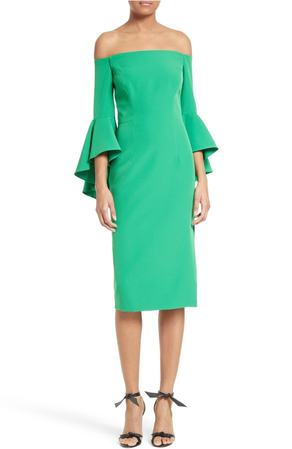 Green Ruffle Sleeve Dress for Guest of a Wedding