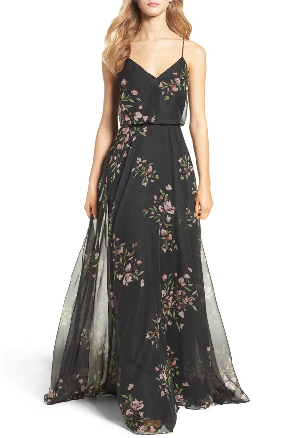 Black Floral Bridesmaid Dress by Jenny Yoo