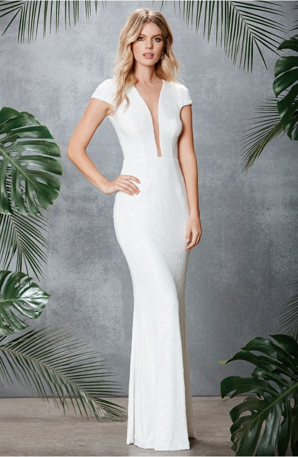 Sexy White Sequin Dress for a Wedding with Plunge Neckline