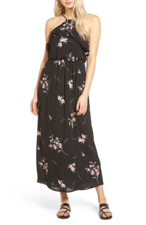 Ruffle top black floral maxi dress