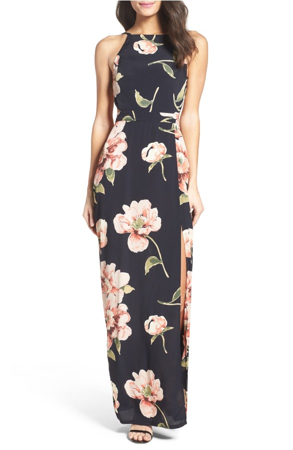 High neck black floral long dress