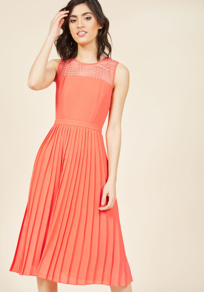 Spring Coral Dress for Weddings and Events
