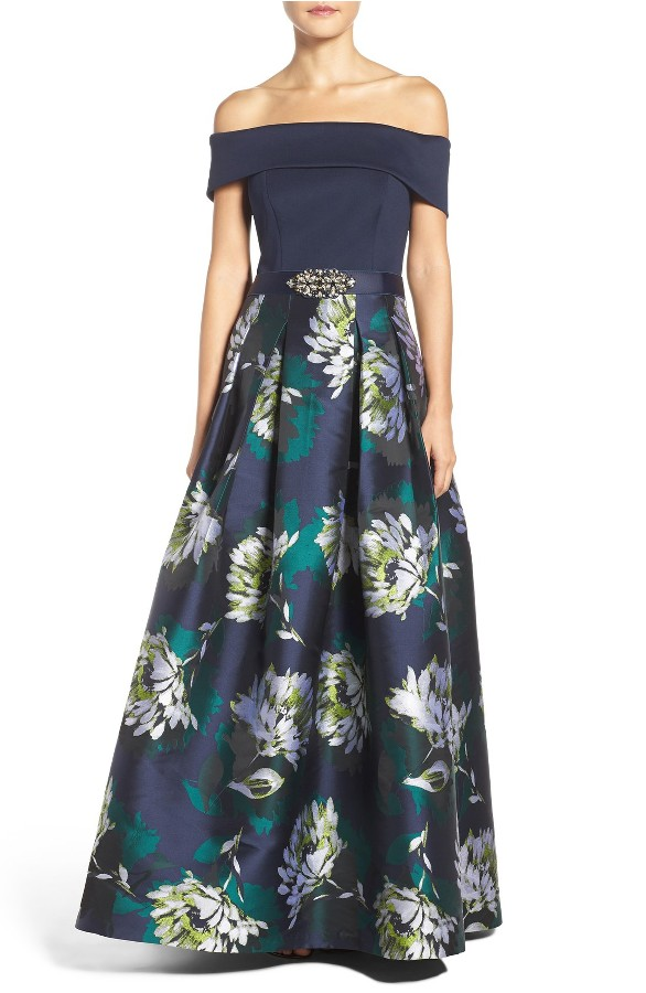 Off-the-Shoulder Navy Blue Evening Gown with Floral Print