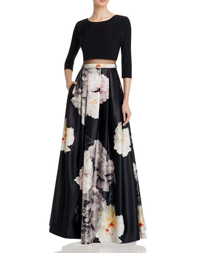 Dark Floral Ball Gown with Long Sleeves