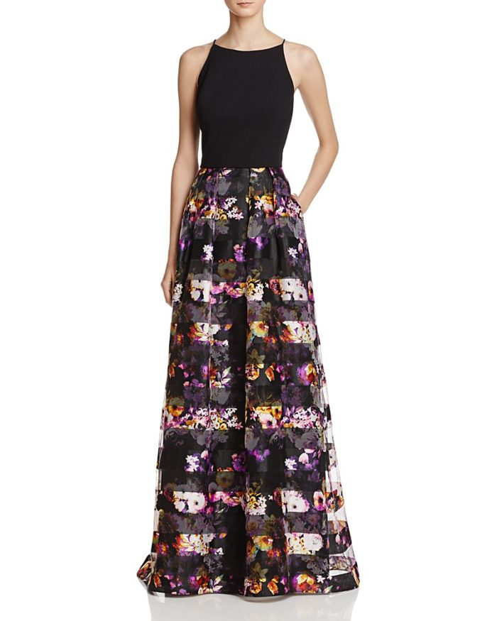 Two piece formal black gown with floral stripes