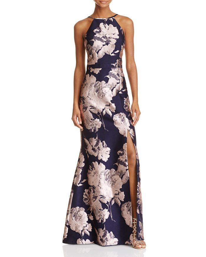 Formal Navy Blue Jacquard Floral Gown