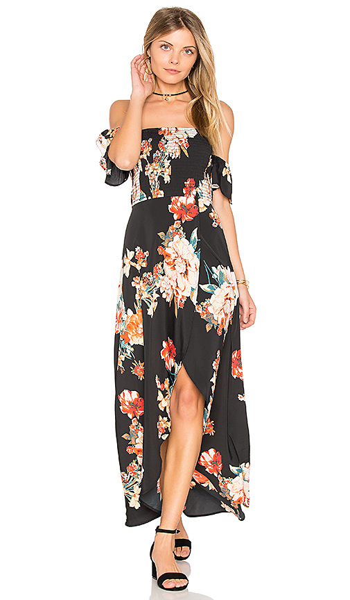 Off the Shoulder black floral maxi dress