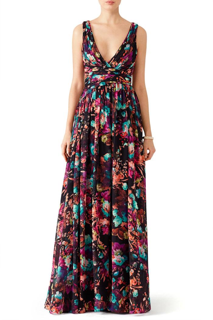 Dark floral print v-neck designer gown
