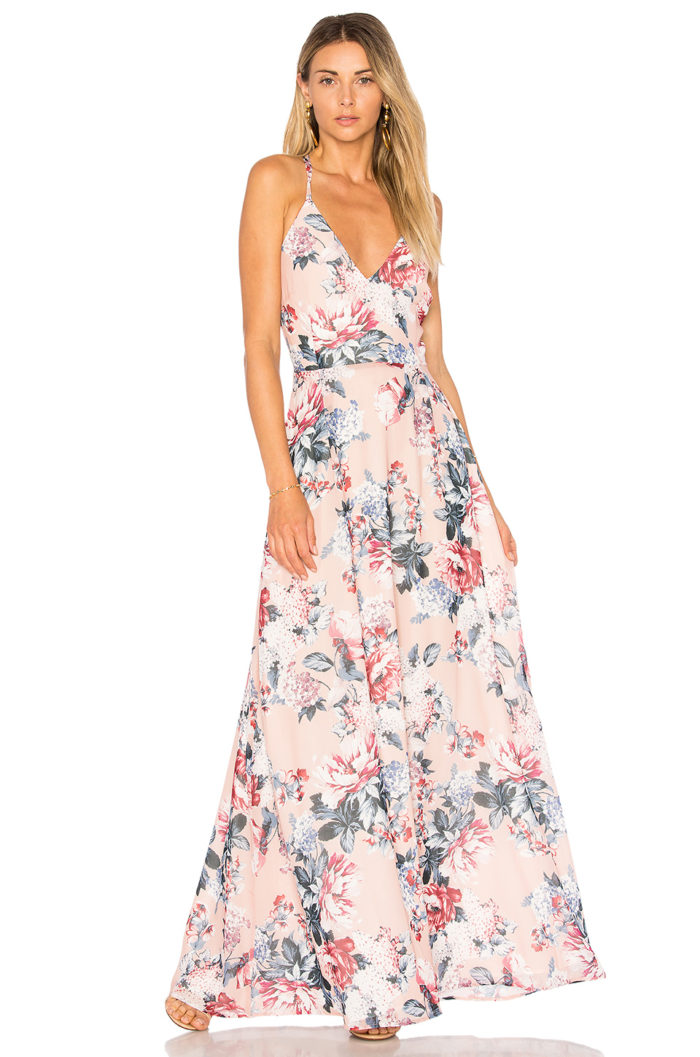 Blush Floral Maxi Dress for Spring and Summer Weddings | Chantelle Dress from BB Dakota