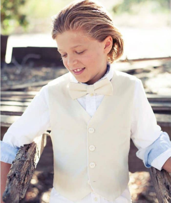 843723d25d This adorable linen vest and bow tie set would suit a young gentleman  attendant in a rustic wedding or a beach wedding. Created by Sage N Thyme  Designs on ...