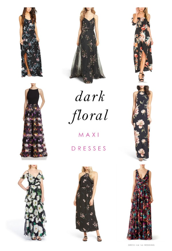 Navy Blue and Black Floral Maxi Dresses