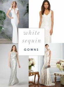 Long White Sequin Gowns for Weddings, Vow Renewals, or Engagement Parties
