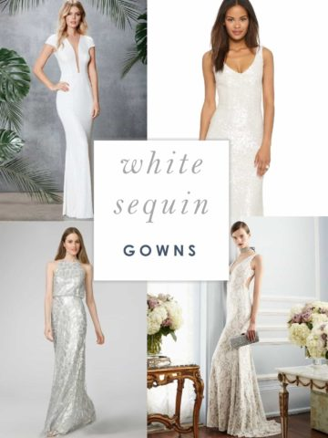 White Sequin Gowns for Weddings