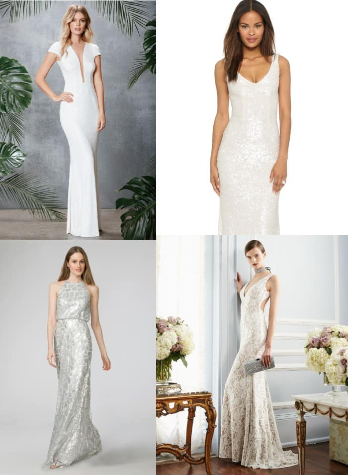 White Sequin Gowns for Weddings | White Beaded Dress like The Bachelorette