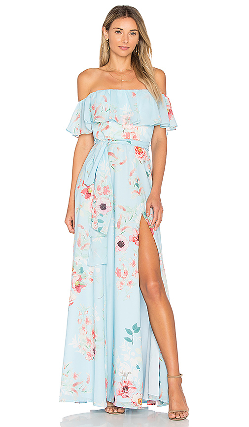 Blue Floral Off the Shoulder Maxi Dress | Fashionable Spring Guest of Wedding Dresses