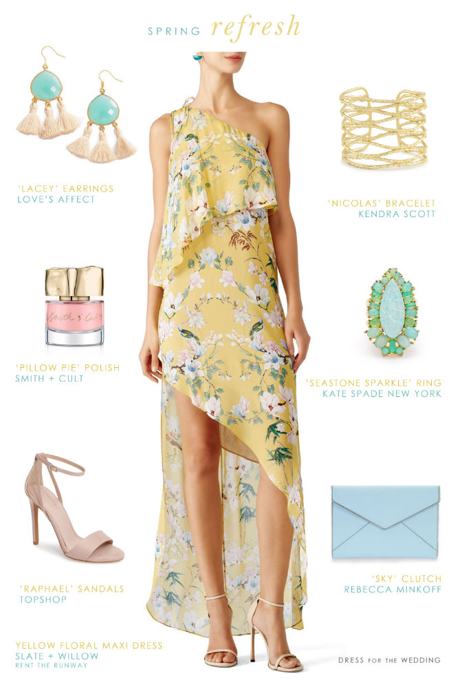 Pretty Yellow Printed Dress for Spring 2017 Weddings
