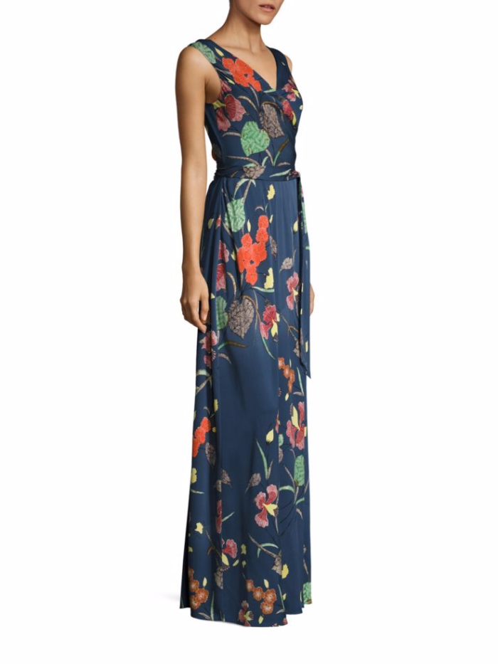 Navy blue floral formal gown