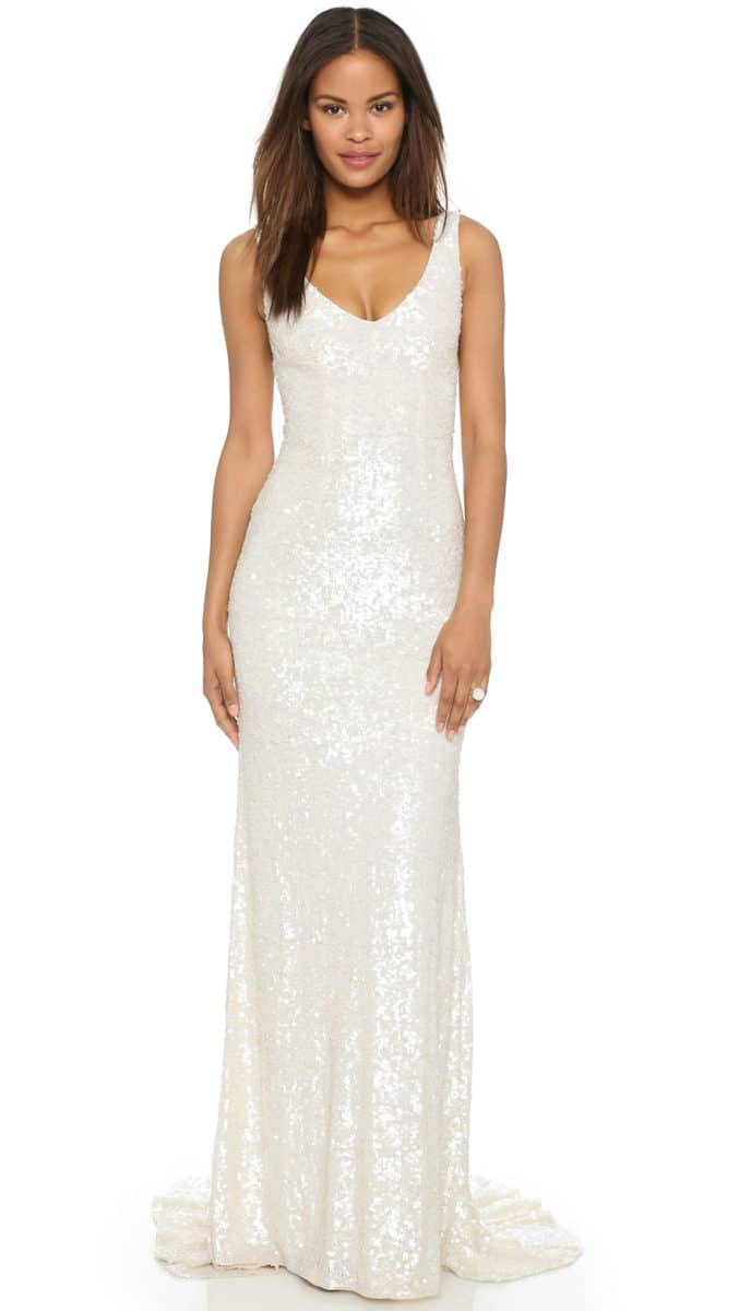 Ivory Sequin Gown with Fishtail Hem for a Wedding | Harlow Gown by Theia