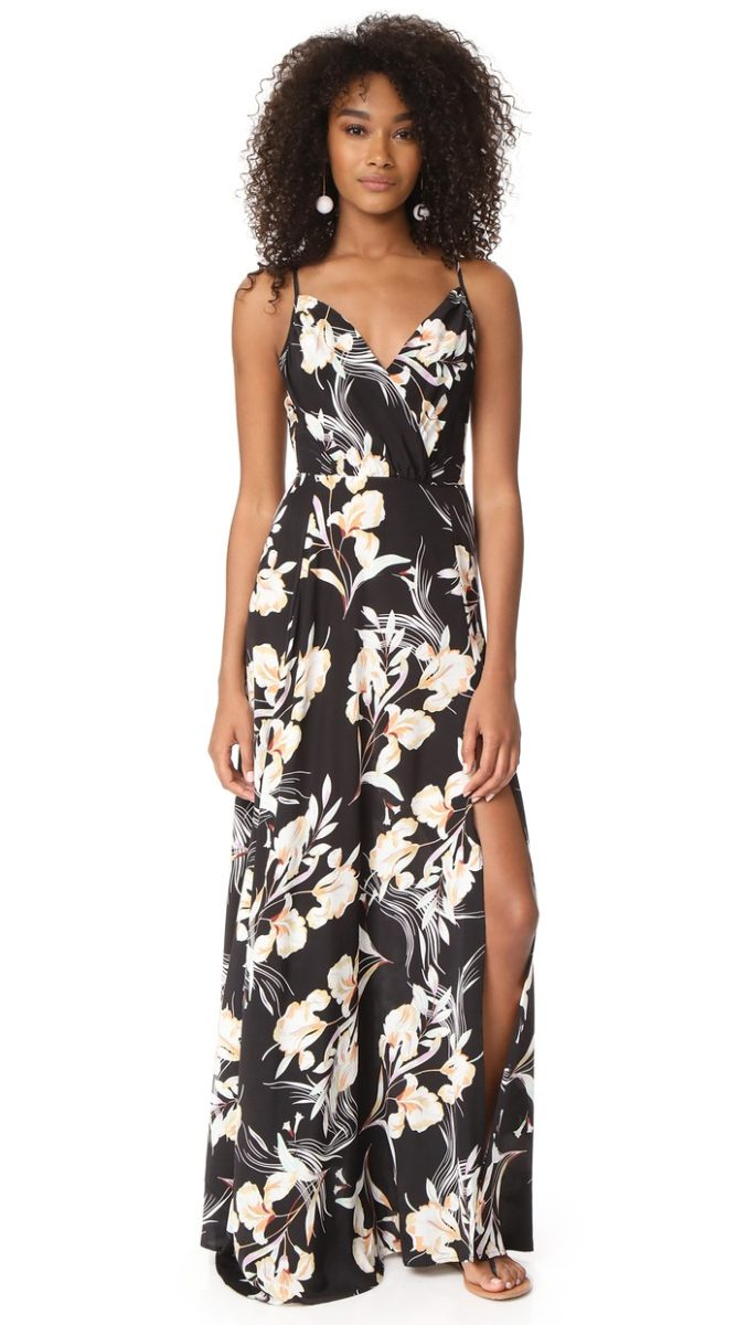 Dark floral maxi dress with spaghetti straps