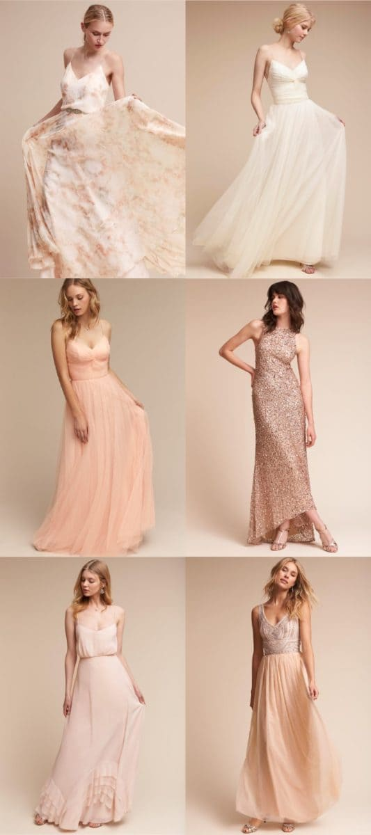 Blush, Peach, Rose Gold, and Cream Mix and Match Bridesmaid Dresses