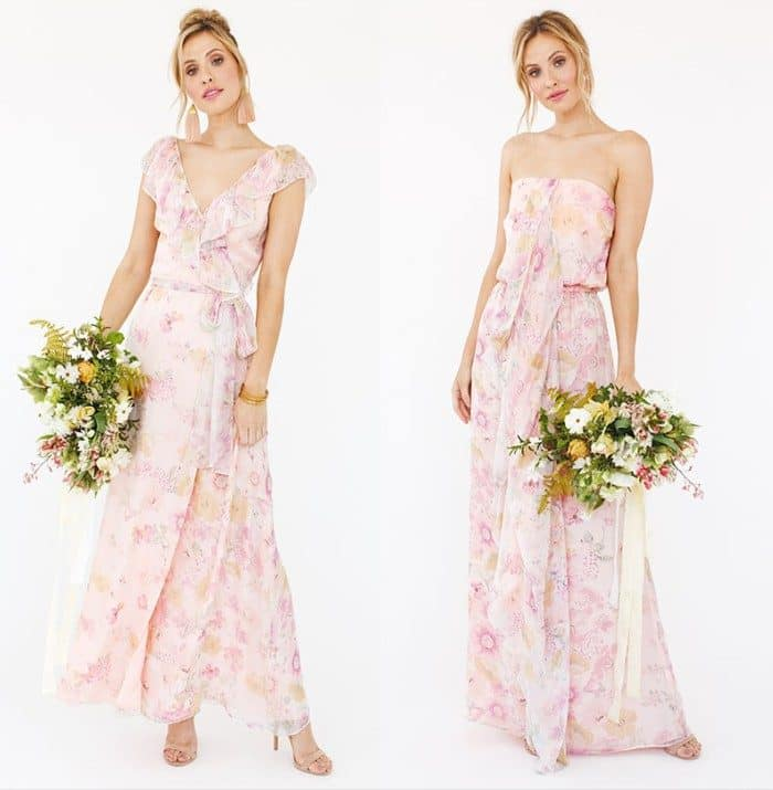 Blush Floral Print Bridesmaid Dresses