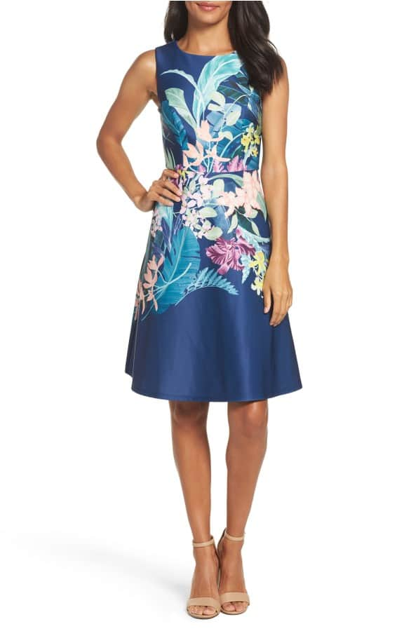 Blue Floral Daytime Wedding Guest Dress