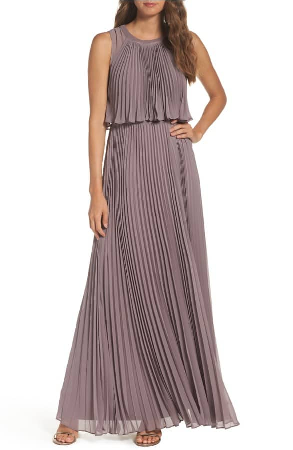Neutral Pleated Maxi for Wedding Guest