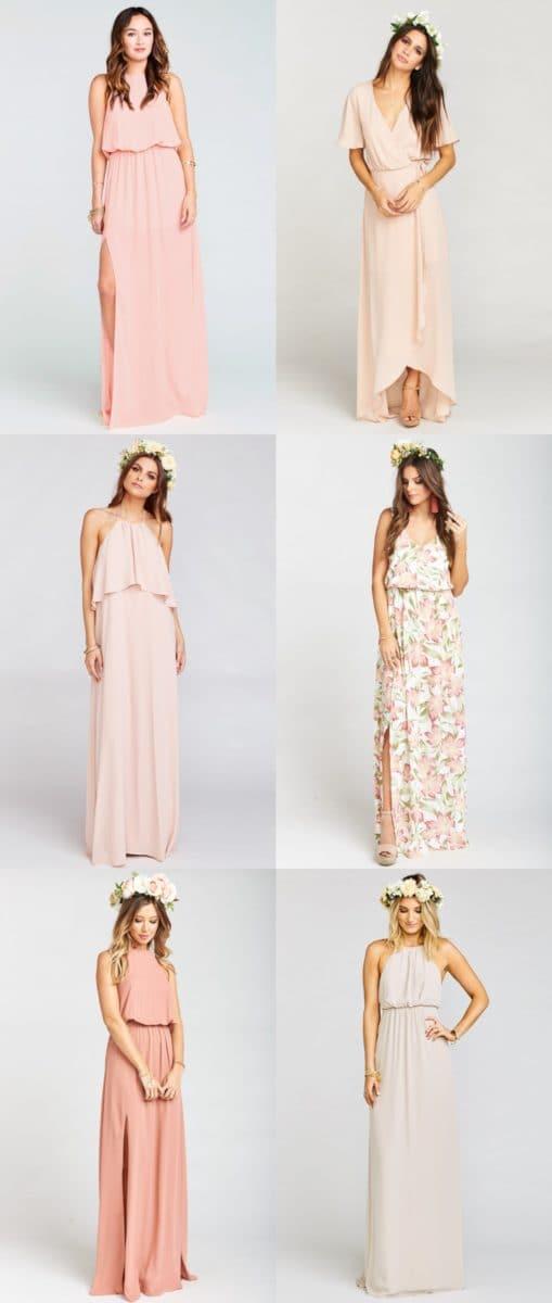 Peach and Cream Modern Mix and Match Bridesmaid Dresses