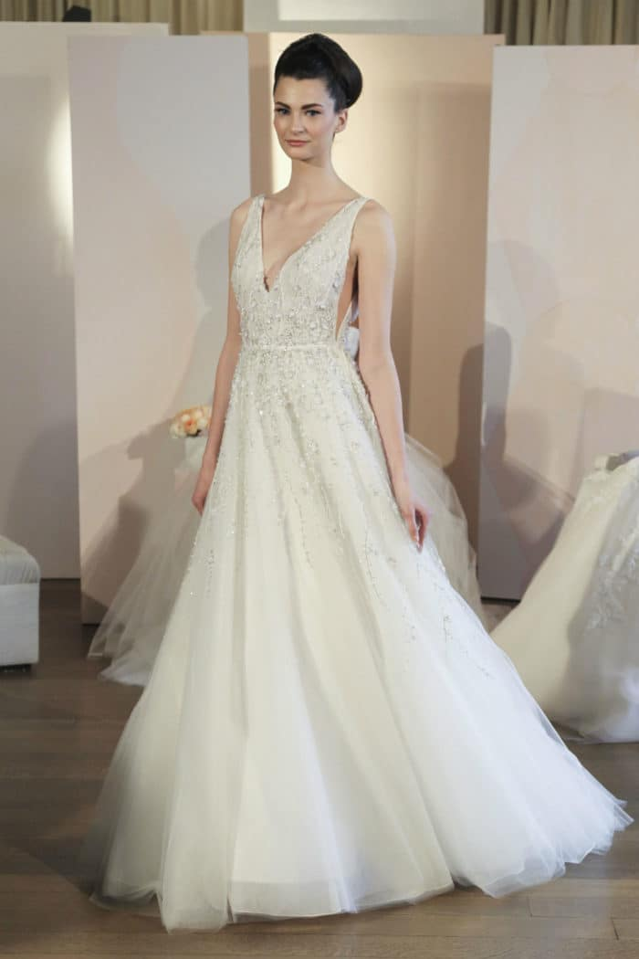 Beaded V Neck Ballgown Wedding Dress | Anne Barge Francoise