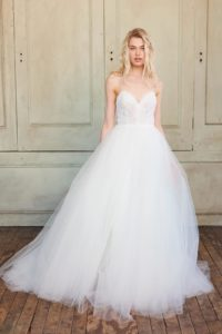 Adelynn by Christos a Tulle Wedding Dress with Lace Bodice