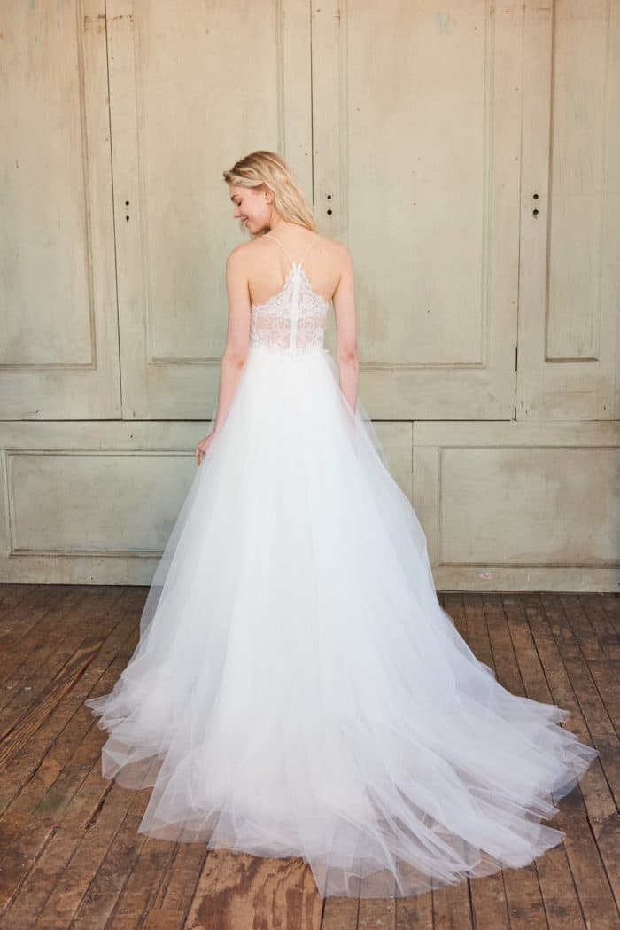 Adelynn by Christos 2018 | Designer Wedding Dress with Lace Back and Tulle Ballgown skirt