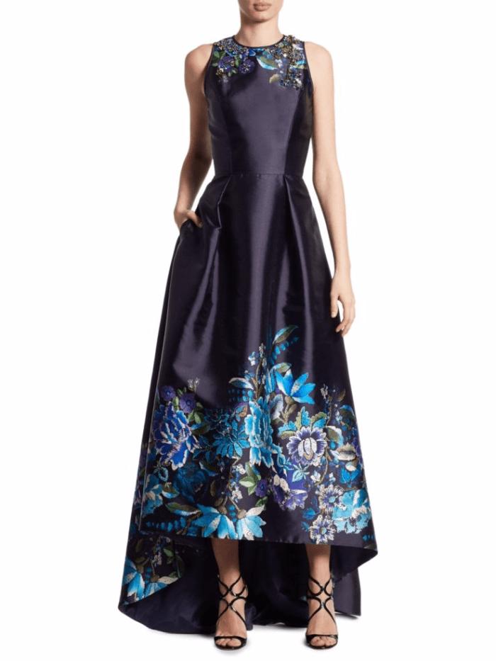 Black Floral Hi Low Formal Dress for Mother of the Groom or Mother of the Bride