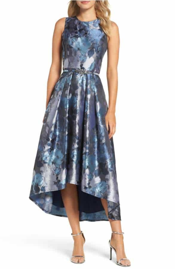 Blue Floral Print Hi Low Dress